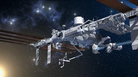Rendering 3D della Stazione Spaziale Internazionale su uno sfondo di spazio generico. Archivio Fotografico - 93884151