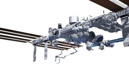 3D Rendering of the International Space Station with the work path included in the file. Stock Photo