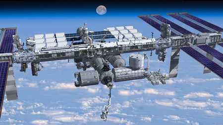 zero gravity: 3D Rendering of the zenith side of the International Space Station flying above Earth, showing its detailed modular architecture.