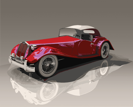 Detailed illustration of a vintage convertible red car, similar to an Austin Touring   MG, on a reflective surface.