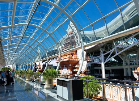 BALI, INDONESIA - MAY 18, 2017 Denpasar International Airport or Ngurah Rai International Airport, is the main airport in Bali, located 13 km south of Denpasar.