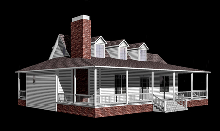3D Illustration of a house on a black background, with the isolation work path included in the file. Stock Photo