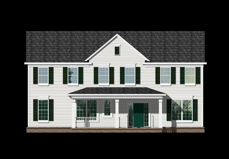 3D Illustration of a house elevation, with the isolation work path included in the file.
