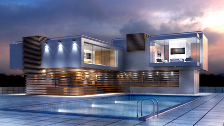 3D Illustration of a modern luxury house with a pool, for contemporary architectural design backgrounds. Banco de Imagens