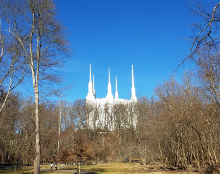 KENSINGTON, MARYLAND - February 20, 2017: The Washington D.C. LDS Temple, as seen from the Rock Creek park, is the 16th operated temple of the Church of Jesus Christ of Latter-day Saints. Stock Photo