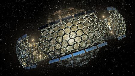 3D Illustration of a deep space honeycomb geodesic structure surrounding a spherical web of triangular grids on a galactic background, for science fiction video games or interstellar travel.