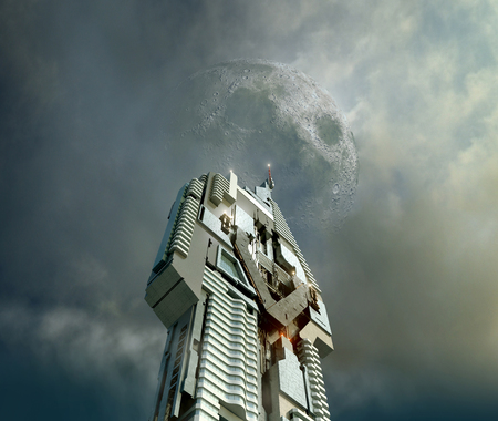 3D Illustration of a futuristic city skyscraper, from a dramatic angle, with a menacing moon above, for fantasy or science fiction architectural backgrounds. Elements of this image furnished by NASA. Stock Photo