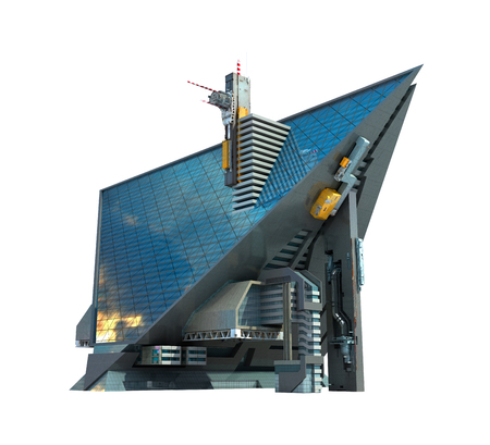 3D Illustration of a futuristic building in a triangular shape, with a technologist architecture, for science fiction or video games backgrounds. The isolation work path is included in the file. Standard-Bild - 100428697