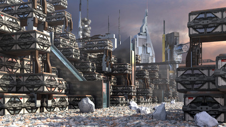 3D Illustration of a futuristic settlement, with a modular, technologic architecture on a rocky terrain, for fantasy or science fiction architectural backgrounds Reklamní fotografie