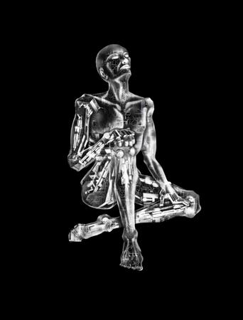 3D Illustration of an AI robot, mimicking a human.