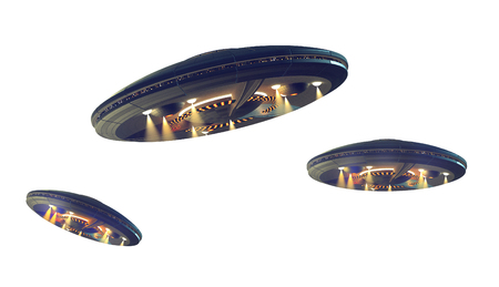 3D illustrations of an UFO in several images adjusted for perspective, for science fiction artwork or interstellar deep space travel. Clipping path included in the file.