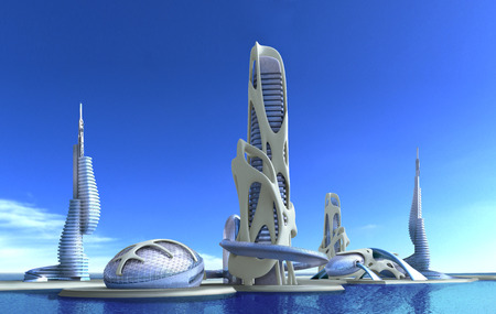 3D futuristic city with organic high-rise architecture against a marina skyline, for fantasy and science fiction illustrations.