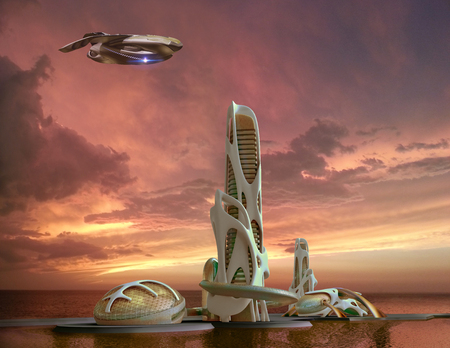 3D futuristic marina-city in sunset with an organic high-rise architecture