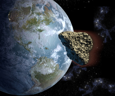 3D Illustration of a heart shaped asteroid on a collision course with Earth. Elements of this image furnished by NASA.