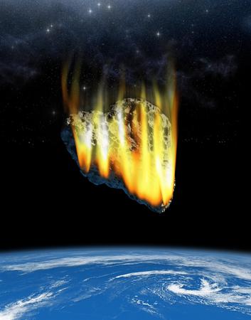 Ilustración 3D de un asteroide en forma de corazón en curso de colisión con la Tierra. Foto de archivo