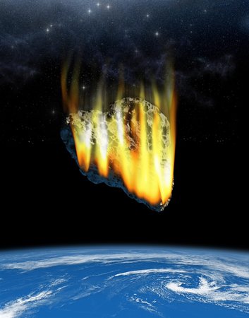 3D Illustration of a heart shaped asteroid on a collision course with Earth. Stock Photo