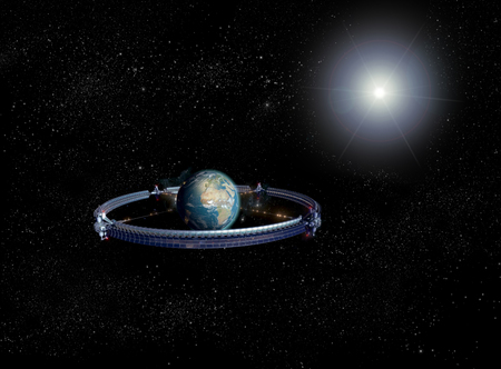 3D Rendering of giant space wheel with space elevators built around Earth, for science fiction or video game backgrounds. Imagens - 110589858