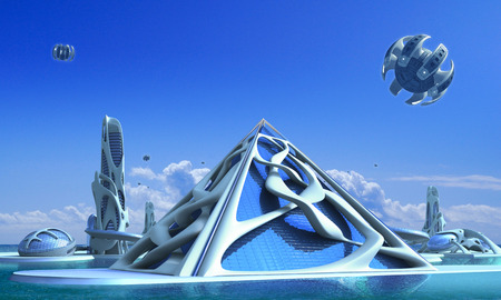 3D futuristic city architecture with a glass pyramid and towers surrounded by vine-like organic structures against a marina skyline, for fantasy and science fiction illustrations. Stock Photo