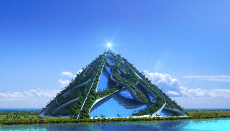 3D futuristic green architecture with a glass pyramid covered with trees and a vertical garden, for fantasy or science-fiction illustrations.