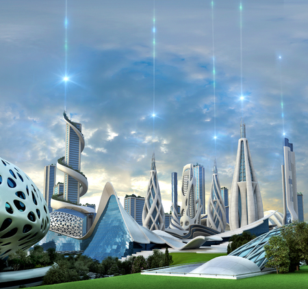 3D illustration of a futuristic green city with an organic architecture powered by an exotic energy source originating in outer space, for fantasy and science fiction backgrounds.
