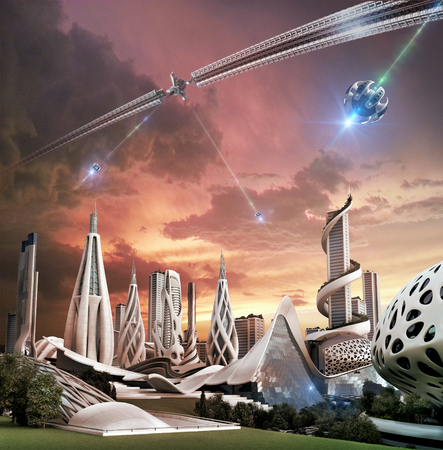 3D illustration of a futuristic city powered by an exotic energy source originating in a space-wheel structure with flying drones, for fantasy and science fiction backgrounds.