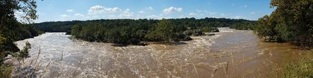 The Potomac river panorama with rapids swollen by heavy rains, at the Great Falls, in Maryland, USA