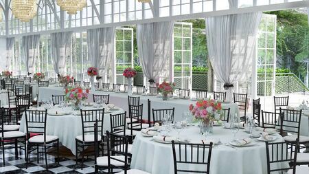 3D Illustration of a wedding reception venue decorated in white, with the doors opened for a summer event. Stock Photo