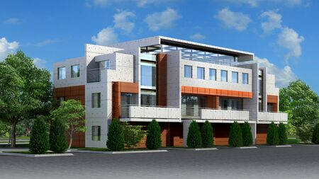3D Illustration of a luxury, residential building in a contemporary architectural style.