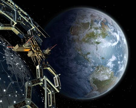 Alien mega structure in near Earth orbit, with a honeycomb geodesic structure surrounding a central metallic sphere, for space exploration backgrounds. 3D illustration elements furnished by NASA. Banco de Imagens
