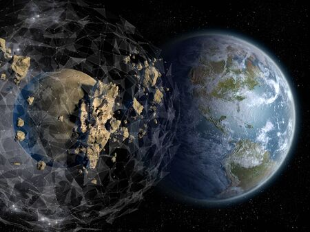 A plexus sphere shaped force field surrounds asteroids and meteorites in near Earth orbit. Stock fotó