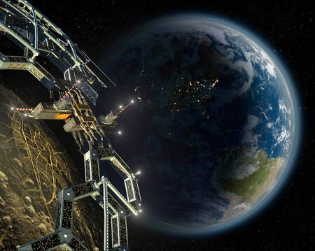 Asteroid mining space colony in a near Earth orbit, for space exploration backgrounds.