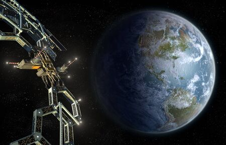 Space station colony as a honeycomb geodesic mega structure in near-Earth orbit, for space exploration backgrounds.