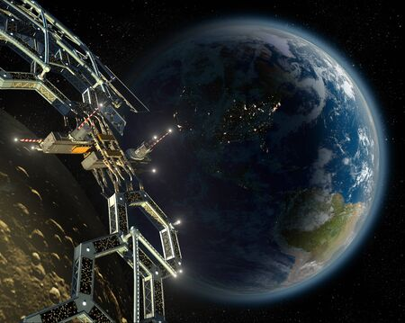 Asteroid and meteorite mining space station in a near Earth orbit, for space exploration backgrounds. Banco de Imagens