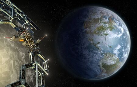 Alien mega structure approaching Earth, as a honeycomb geodesic structure surrounding a central exotic energy plexus