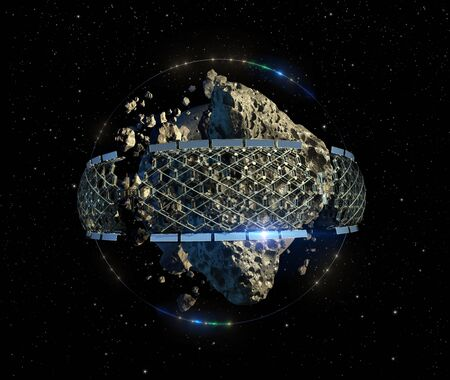 3D Illustration of an asteroid mining space colony with a megastructure honeycomb architecture, for space exploration backgrounds Banco de Imagens