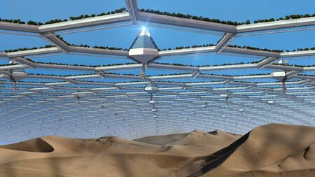 3D futuristic mega structure garden, with a giant dome made from a hexagonal mesh, over a desert, for energy efficient architecture, fantasy or science fiction illustrations. Stok Fotoğraf