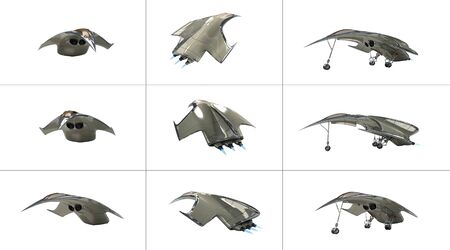 3D Illustration of a futuristic fighter plane from several angles, for science fiction or military aircraft backgrounds, with the clipping path included in the file.