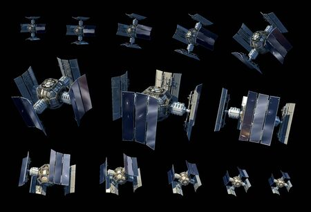 3D Illustration instances of an unmanned spacecraft or satellite orbiter with the clipping path included in the file, for science fiction artwork or video game backgrounds.