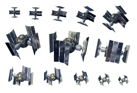 3D Illustration instances of an unmanned spacecraft or satellite orbiter isolated on white with the clipping path included in the file, for science fiction artwork or video game backgrounds.