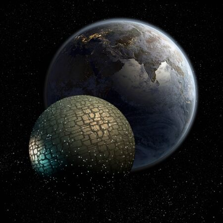 3D Giant spherical spaceship approaching Earth for futuristic deep space travel or science fiction backgrounds. 写真素材