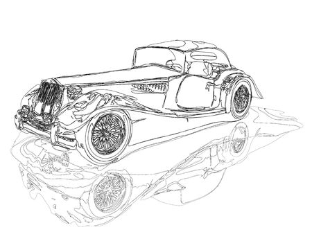 Line-work sketch of a vintage convertible retro car, similar to an 1950s Austin Touring MG, with the  illustration clipping path included in the file.