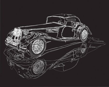Vintage hot-rod car sketch in a black and white line work, with the  illustration clipping path included in the file.