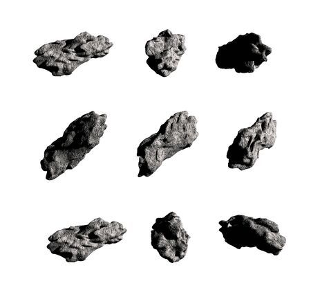 3D collage set of meteorites or asteroids, if larger than 10 meters, isolated on white with the clipping path included in the file, for science fiction or space exploration illustrations. 写真素材