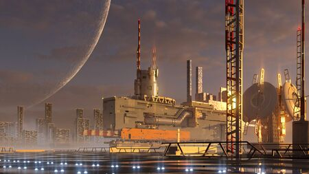 3D rendering of futuristic architecture on an alien planet with technological structures and a lit runway for video games or science fiction backgrounds.