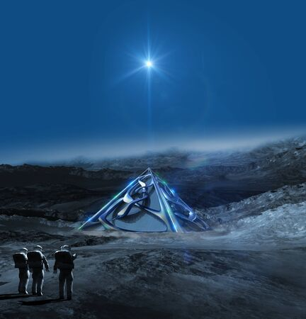 Alien frozen planet with astronauts pointing to a technologically advanced architectural structure, for science fiction video games or futuristic 3D illustration backgrounds.