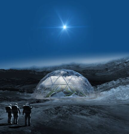 Alien planet with astronauts pointing to a terraforming dome with a pyramid in the clouds, for science fiction video games or futuristic 3D illustration backgrounds. 写真素材