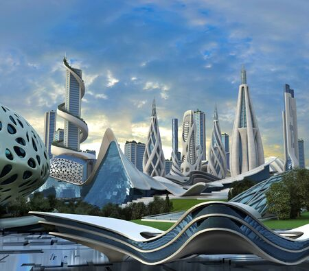 3D illustration of a futuristic city with high-rise buildings in an organic architectural design for science fiction backgrounds.