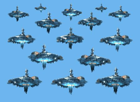 3D rendering collage of UFO spaceship instances, isolated on sky blue with the clipping path included in the file, for science fiction artwork or video game backgrounds.