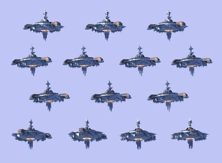 Collage of 3D UFO spaceship instances, isolated on a purple sky with the clipping path included in the illustration, for science fiction artwork or video game backgrounds. 写真素材