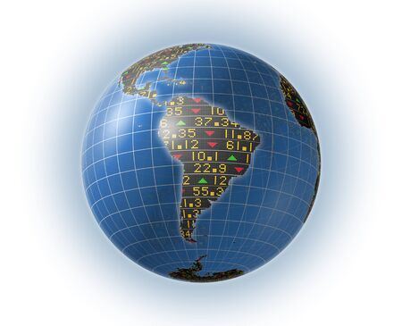 3D illustration of South America covered in stock market tickers for business and financial backgrounds, using typical up and down trade symbols, with the clipping path included in the file